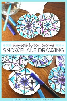 Create beautiful watercolor snowflakes with this step by step snowflake drawing tutorial. Winter Art Projects, Winter Crafts For Kids, Art For Kids, Class Projects, Snowflakes Art, Drawing Snowflakes, January Art, 4th Grade Art, Theme Noel