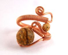 Copper Wire Wrapped Ring with Picture Jasper by PillarOfSaltStudio