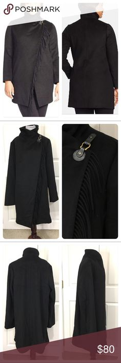 NWT! Ralph Lauren Wool Blend Fringe Trim Wrap Coat New with tags from a secondary market store. Blanket styling with soft fringe trimming the asymmetrically wrapped front adds an on-trend edge to a cozy wool-blend coat. Fasten the push-tab at the shoulder to create a cozy funnel neckline or leave the front open for nonchalant appeal. Push-tab closure at shoulder; interior anchor snap. Front pockets. Lined. Dry clean. By Lauren Ralph Lauren; imported. Lauren Ralph Lauren Jackets & Coats