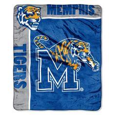 Memphis Tigers NCAA Royal Plush Raschel Blanket (School Spirit Series) (50in x 60in)