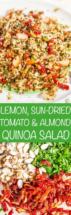 Lemon,+Sun-Dried+Tomato,+and+Almond+Quinoa+Salad+-+Fast,+easy,+and+fresh!+Bright+flavors+and+loads+of+texture!+This+clean-eating+salad+keeps+you+full+and+satisfied!+Healthy+never+tasted+so+good!!+(No+mayo+and+great+for+outdoor+events+or+lunch+boxes!)