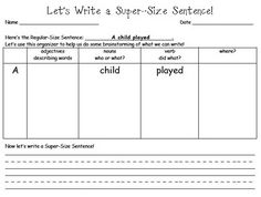 Awesome idea for teaching young children to write complex sentences or as a graphic organizer to help Learning Disabled students write more complex sentences!