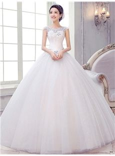 Glamorous & Dramatic Winter Sleeveless Lace-up Floor-Length All Sizes Ball Gown Scoop Wedding Dress