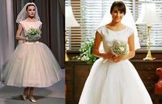 Rachel's wedding dress based on Audrey Hepburn's  http://www.fanpop.com/clubs/glee/images/29308525/title/rachels-wedding-dress-based-on-audrey-hepburns-photo