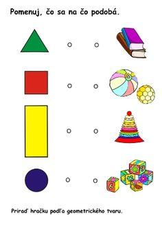 farby a tvary _pracovný list_čo sa načo podobá podľa tvaru Activities For Kids, Kindergarten, Preschool, Playing Cards, Montessori, Education, Games, Children Activities, Kid Garden