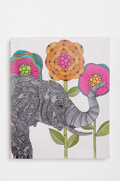 Elephant wall art on canvas - $34 from Urban Outfitters! @Amanda Maddock - this makes me think of you...