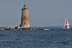 Whaleback Lighthouse as seen from Portsmouth NH Visit Maine, East Coast Road Trip, Local History, Portsmouth, Lighthouses, New Hampshire, New England, Around The Worlds, Island