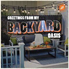 This modern backyard oasis is the perfect place to unwind after a long day. A sleek, slate gray Veranda composite deck is a neutral backdrop, while hanging lights keep things warm. Add bright chartreuse pillows and cozy textured throws for visual interest. Click to shop building materials and patio accessories for your backyard oasis at The Home Depot.