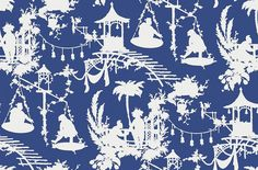 South Sea (T16020) - Thibaut Wallpapers - A fun and vibrant wallpaper featuring tropical island silhouettes, with an oriental feel. Shown here in deep navy and white. Other colourways are available. Please request a sample for a true colour match. This is an American wallcovering and will take between 7-10 working days for delivery. Wide width product.