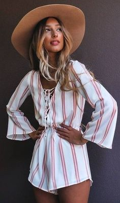#summer #pretty #outfits | Stripe Playsuit