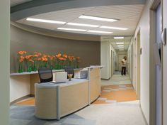 Possible volunteer or student work area. Arlington Free Clinic designed by Perkins+Will.