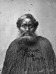 Kereopa Te Rau - Ngāti Rangiwewehi of Te Arawa    Kereopa Te Rau was one of the five original disciples of Te Ua Haumēne, the founder of the Pai Mārire faith. He was a member of Ngāti Rangiwewehi of Te Arawa. This image was taken a month before he was hanged at Napier on 5 January 1872 for the murder of Carl Völkner.