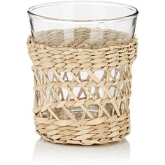 Untitled Homeware Glass & Rattan Wine Glass ($18) ❤ liked on Polyvore featuring home, kitchen & dining, drinkware, glass wine glasses, wine glass and glass drinkware