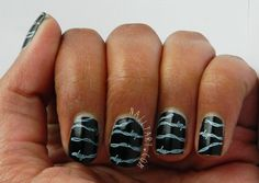 Mash Nails Black and White Barb Wire Nail Art by Nailtart.com