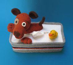Tissuebox Cover Bathing Puppy With Rubber Duck amigurumi crochet pattern by Millionbells