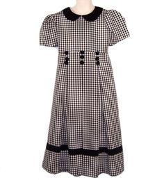 9d7ec3b7b5 Bonnie Jean Dress Girls 7 Black White Check Velvet Collar Below Knee Modest   BonnieJean