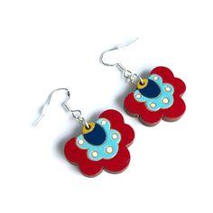 Colourful Cactus Flowers Jewellery Flower Necklace, Flower Brooch, Handmade Wooden, Handmade Gifts, Laser Cut Jewelry, Flower Shorts, Dangle Earrings, Cactus, Dangles