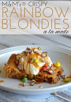 M&M's® Crispy Rainbow Blondies a la mode - a decadent dessert recipe the whole family will love! #CrispyComeback #ad