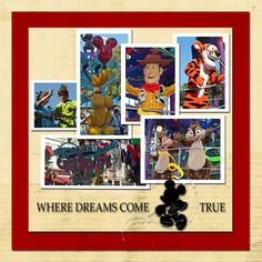 Nice simple layout for several pictures...like the white borders. #Disney  #Travel