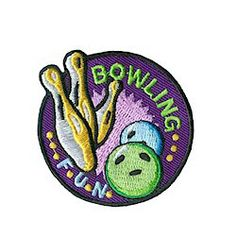 """Bowling Fun Patch – Purple. Bowling Fun Patch puts a """"strike"""" in the column of fun, healthy activity. Encourages young people to keep moving to stay healthy. Available at MakingFriends.com"""