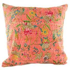 Kantha Pillow Cover - Orange Marigold, Home Textile, Pillow Covers, Textiles, Throw Pillows, Indian, Orange, Pillow Case Dresses, Toss Pillows