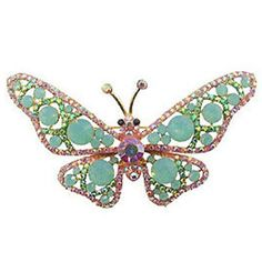 Butler and Wilson Pink AB Butterfly Brooch