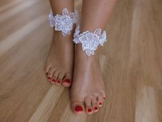 Bridal Ankle cuffs  white lace anklet Beach by Theworldofbrides, $26.00