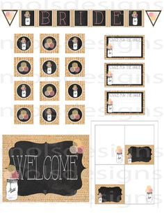 INSTANT DOWNLOAD SET Mason Jar Vintage Burlap by MolsDesigns, $30.00 Party printable shower set Mason Jar party decoration mason jar decor mason jar banner cupcake toppers welcome sign food cards