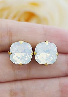 White Opal Swarovski Crystal Estate Style Ear Studs from EarringsNation Pastel weddings Bridesmaid Gifts
