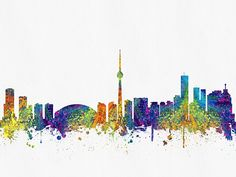 Colorful Digital abstract drawing of Toronto, Ontario skyline. Skyline Painting, Toronto Skyline, Canvas Prints, Framed Prints, Wood Painting Art, Abstract Drawings, Beauty Art, Wood Print, Ontario
