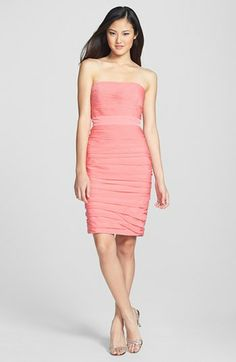 ML Monique Lhuillier Bridesmaids Ruched Strapless Cationic Chiffon Dress (Nordstrom Exclusive) | Nordstrom