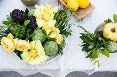 veggies + peonies...our kind of arrangement by Bloom and Plume #goopcookbookclub