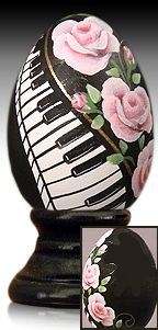 Rose Rhapsody - hand painted wooden egg by The Egg Man Alan Traynor