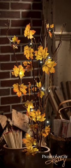 Autumn Decor. Fall leaves. Great seasonal entrance to the house thanksgiving and fall