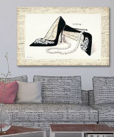 LOVE THE NEWSPRINT, LAYERED Emily's Closet IV Gallery-Wrapped Canvas on #zulily! #zulilyfinds