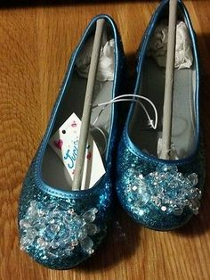 another possible Elsa shoe, Girls JUSTICE glittery teal flats -brand new Size 13