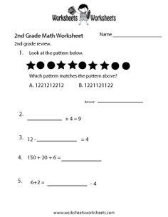 2nd Grade Math Review Worksheet