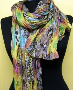 Multicolor Women Shawl Scarf  Headband Necklace Cowl by fatwoman, $19.00