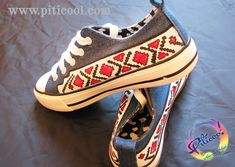 Tenisi pictati motive traditionale romanesti - Incaltaminte pictata Piticool Vans Authentic, Sneakers, Diy, Crafts, Shoes, Tennis, Slippers, Manualidades, Zapatos
