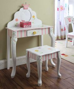 Princess & Frog Vanity Table & Stool #zulily #zulilyfinds