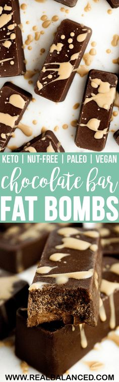 These Chocolate Bar Fat Bombs a mouth-wateringly delicious keto-friendly dessert recipe featuring SunButter Sunflower Butter! This recipe is keto, low-carb, nut-free, paleo, Ketogenic Desserts, Keto Friendly Desserts, Low Carb Desserts, Low Carb Recipes, Real Food Recipes, Dessert Recipes, Paleo Dessert, Vegan Chocolate Bars, Low Carb Chocolate