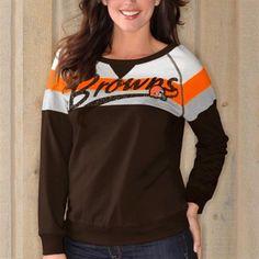 Cleveland Browns Ladies Free Agency Long Sleeve Sweatshirt - Brown