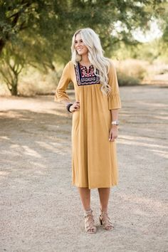Embroidered Bell Sleeve Dress - (Style me up! Church Dresses, Modest Dresses, Modest Outfits, Cute Dresses, Cute Outfits, Dresses With Sleeves, Maxi Dresses, Awesome Dresses, Church Outfits