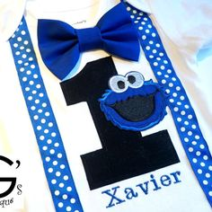 Sesame Street Cookie Monster Cake Smash 1st 2nd 3rd Birthday Outfit Toddler Bow Tie Shirt by GodsGirlsBowtique on Etsy https://www.etsy.com/listing/264079702/sesame-street-cookie-monster-cake-smash