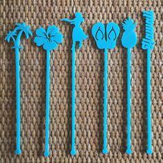 Hawaiian Island Party Drink Stirrers -Tropical Bachelorette - Beach Wedding - Set of 6 Laser Cut Acrylic Stir Sticks