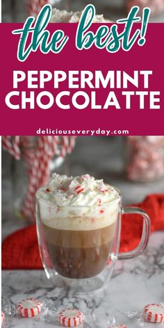This Peppermint Chocolatte is the perfect coffee to get you in the holiday spirit. It's a festive blend of rich coffee, hot chocolate, and peppermint syrup – all topped off with whipped cream and crushed peppermints. It's easy, fun, and pretty enough for a party. Plus, it's 100% vegan and dairy-free. Chocolate Sweets, Chocolate Lovers, Chocolate Recipes, Hot Chocolate, Edible Christmas Gifts, Christmas Baking, Alcoholic Cocktails, Easy Holiday Recipes, Best Cocktail Recipes