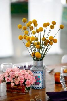 simple, vintage, cute.   PS. what are those cute yellow ball flowers I love them!