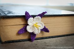Handmade Crochet Flower Bookmark Purple Lily by joyoustreasures