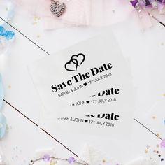 Personalised Save The Date Ribbon with free envelope Ribbon Colors, Red Ribbon, Sarah Johns, Gold Foil Print, Printed Ribbon, Wedding Announcements, Paper Cards, Personalized Wedding, Wedding Accessories