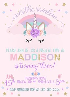 Unicorn Birthday Invitation Party Rainbow 10th Parties 7th For Girls